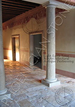 You are looking at new hand carved columns with a light earth patina and but with no destressing