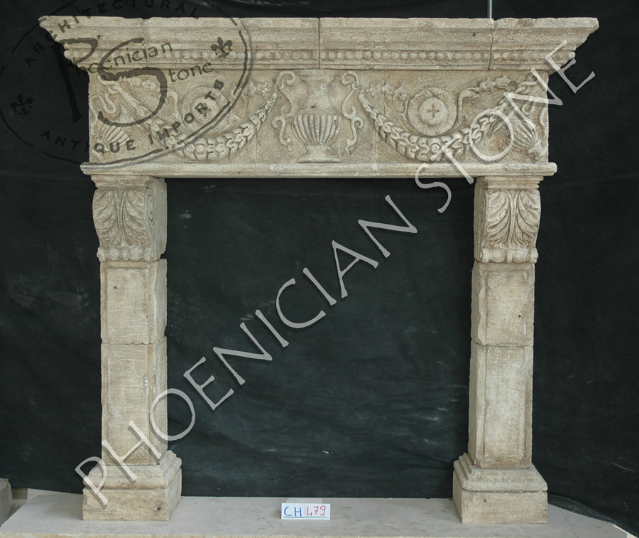 Old Reclaimed Antique Mantels and hand carved Limestone Mantles by Phoenician Stone